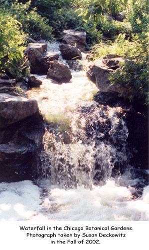 Waterfall in the Chicago Botanical Gardens. Photograph taken by Susan Deckowitz in the Fall of 2002.